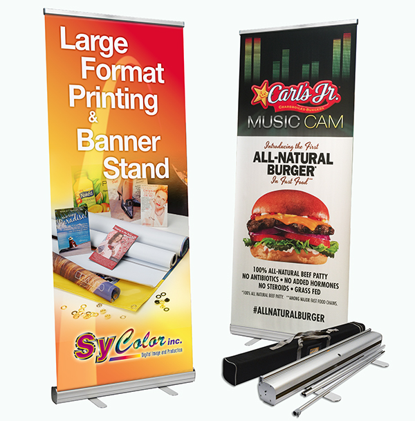 Personalized Jumbo Banner Silver Large Tube 5x5 Graphic Package Stand /& Graphic